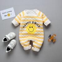婴儿春秋连体衣三层保暖夹棉衣服0-3个月新生儿哈衣春装宝宝睡衣 笑脸