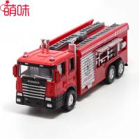 萌味 车模 儿童玩具娱乐消防车合金小汽车模型云梯水枪机场消防车119声光回力车玩具
