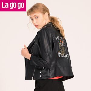 Lagogo2018春装新品黑色刺绣PU皮拉链机车服外套女上衣修身短款