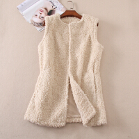 加厚羊羔绒冬季棉马甲女士中长款无袖皮草厚实保暖外套 WC96