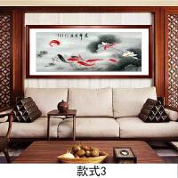 国画鱼餐厅装饰画客厅壁画传统水墨画年年有余花鸟画有框画礼品字