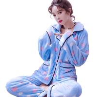 睡衣女秋长袖加厚法兰绒加绒秋冬套装家居服可爱韩版甜美开衫