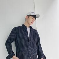 男装春季港风时尚寸衫男士条纹宽松衬衣青少年长袖衬衫