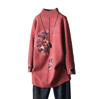 文艺复古民族风花朵刺绣半高领中长款毛衣女打底绣花针织衫潮 均码
