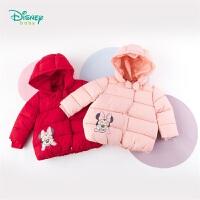 迪士尼Disney童装 甜美女宝连帽外套冬季新品米妮印花三层夹棉上衣儿童棉194S1200