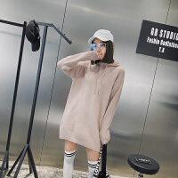 针织衫毛衣女中长款2018春季新款欧美纯色长袖宽松套头潮流打底衫