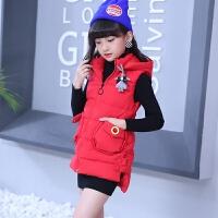 秋冬女童羽绒棉马甲冬款中大童加厚保暖外套挂件冬装儿童马甲外穿