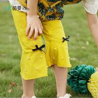 茵曼童装新款夏季女童打底裤儿童多色棉质六分裤中大童中裤女【3882360083】