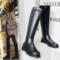 骑士靴女高筒皮靴冬季加绒英伦风马靴粗跟平底不过膝长筒靴女SN7384