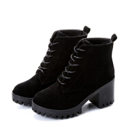 2018新款马丁靴潮百搭冬季加绒保暖棉鞋韩版冬粗跟短靴秋款靴子女软底