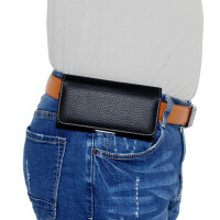耐用手机挂腰包穿皮带横款男士跨腰间袋老人夹扣裤腰带皮套壳通用 4.7码 苹果6/7/8 长140mm内 等通用