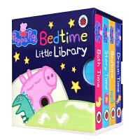 小猪佩奇英文原版绘本 Peppa Pig Bedtime Little Library 粉红猪小妹4册盒装 手掌纸板书