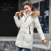 中长款棉衣女装2018冬季新款韩版显瘦加厚大毛领时尚羽绒外套