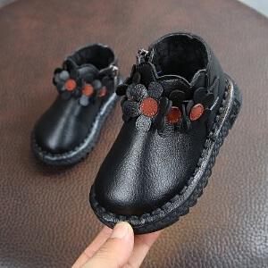 女儿童短靴子2018冬款韩版花朵公主棉靴宝宝保暖皮鞋1-3岁