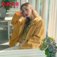 韩都衣舍2019韩版女装秋装新款宽松显瘦开衫上衣短外套AA13835玎