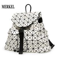日系同款几何折叠双肩包拼接菱格女闲背包学生书包