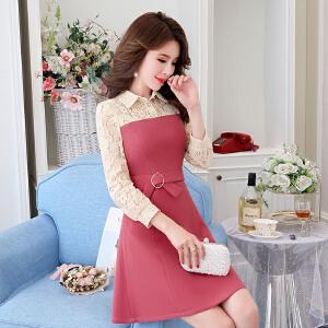 2018春装新款韩版蕾丝拼接连衣裙女高腰长袖气质显瘦收腰打底裙潮