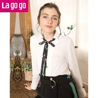 【每满200减100】Lagogo2018春季新款白色休闲衬衫女长袖宽松雪纺衫秋冬打底上衣