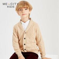 【全场2件2.5折,到手价:89.8】米喜迪mecity童装秋新款男童青果领绞花针织开衫