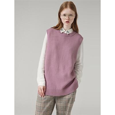 初语毛衣女套头外穿秋季新款时尚绑带圆领无袖针织衫背心& 开衩绑带 背心