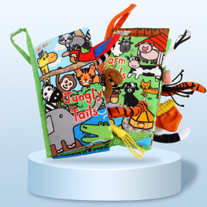 jollybaby快乐宝贝新款尾巴布书早教6-12个月婴儿0-3岁宝宝玩具撕不烂可咬布书