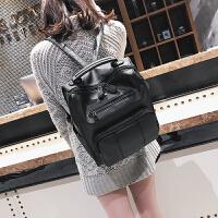 包包女2018新款潮双肩包女韩版百搭时尚学生书包复古英伦女士背包
