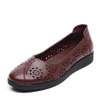 春夏季妈妈凉鞋女真皮透气软底防滑平底中老年人女鞋老人老太太鞋SN1165