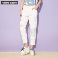 【2件4折到手价:95.6】美特斯邦威牛仔裤女装夏季新款膝盖补丁绣花裤子246888