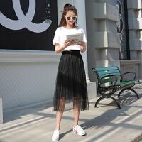 显瘦黑色纱裙中长款a字百褶裙网纱裙蕾丝半身长裙女夏季