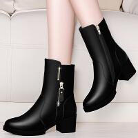 皮鞋女中筒秋冬女鞋短靴女粗跟高跟马丁靴中年中跟妈妈皮鞋加绒棉鞋中筒靴子lkf