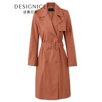 【参考到手价:450元】迪赛尼斯女装外套英伦风中长款单排扣风衣