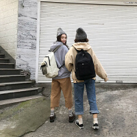 男旅行背包简约潮街拍书包女韩版原宿ulzzang 高中学生森系双肩包