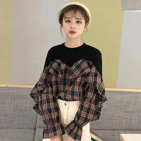 冬季韩版新款拼接格子假两件荷花边上衣女装百搭学生时尚打底衬衫