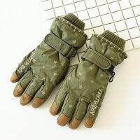 儿童加绒加厚手套骑车户外滑雪男童女童五指棉手套中大童冬款 8岁以上