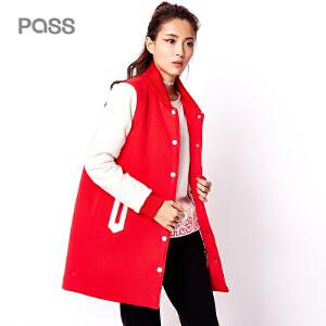 【不退不换】PASS秋装新款女装学生长袖中长款外套棒球服女春秋潮棉服女