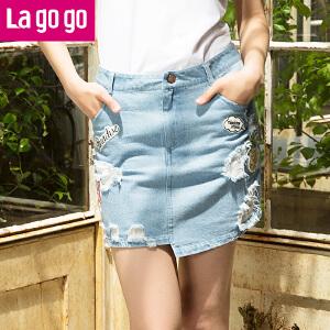 Lagogo2017年夏季新款显瘦半身裙不规则印花短裙女高腰牛仔半裙