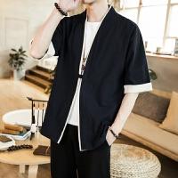 唐装男道袍中国风男士汉服外套中山装夹克上衣男古风青年潮流衣服 5黑色
