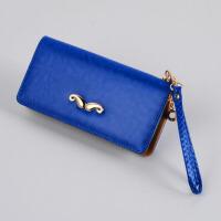 钱包女长款韩版潮时尚学生拉链女式钱包手机包皮夹小手包 宝蓝色