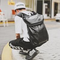 休闲双肩包男士背包韩版书包皮潮流运动旅行电脑登山背包旅行背包 黑色升级版带帽子