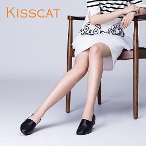 接吻猫2017秋新款舒适平跟两穿凉鞋穆勒拖女深口单鞋KA87202-51