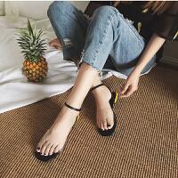 乌龟先森 凉鞋 女士韩版方头露趾透明胶片水晶鞋女式夏季新款学生拼色个性舒适平底凉鞋