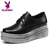 【冬季清仓】花花公子春季女鞋增高休闲鞋女士学生韩版松糕鞋坡跟鞋P11761651