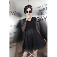 欧洲站春季修身显瘦中长款连衣裙女韩版新款长袖V领雪纺打底裙子 黑色