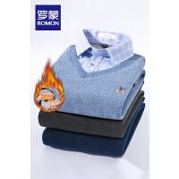 罗蒙男士假两件中青年休闲衬衫领针织衫冬季加绒加厚刺绣胸标毛衣