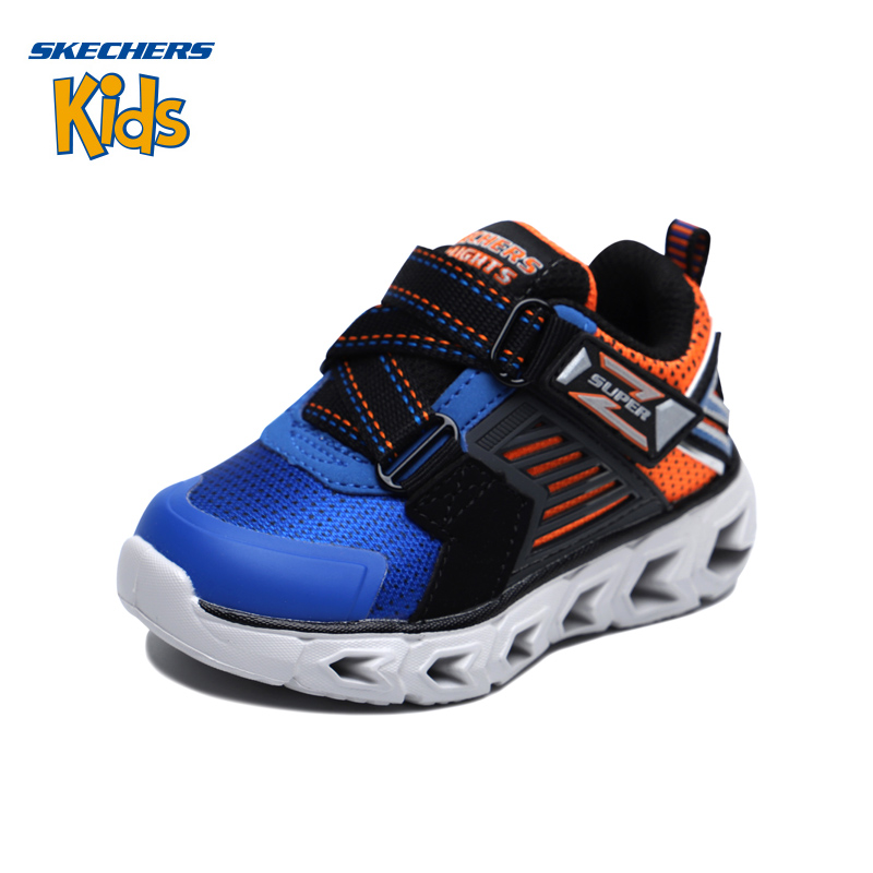 斯凯奇童鞋 (SKECHERS) 男童Z型搭带闪灯鞋 运动型 舒适休闲鞋90587N-BLBK 蓝色/黑色(1岁—4岁)斯凯奇秋季新品