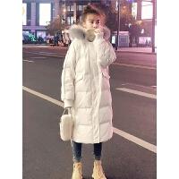 羽绒服女中长款大毛领修身白色鸭绒刺绣冬装外套