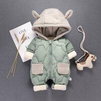 婴儿秋冬装新生儿衣服6夹棉加厚连体棉衣6个月男宝宝外出卡通抱衣