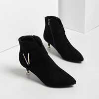 猫跟鞋女2018秋冬新款细跟短靴女高跟尖头裸靴加绒保暖冬靴马丁靴