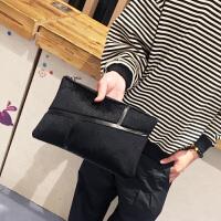 新款男士手拿包韩版潮流时尚马毛手抓包休闲单肩包个性斜跨包 黑色 现货