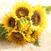仿真花束向日葵太阳花干花绢花室内家居餐厅装饰假花客厅摆件 黄色 一束7朵花